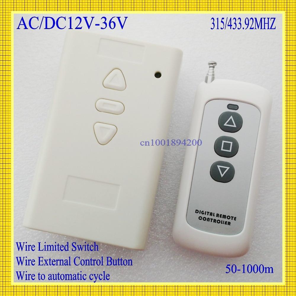 Interruptor de Control remoto del Motor AC 24V DC 12V 36V 2CH interruptor inalámbrico del receptor de parada hacia abajo del Motor ASK Learning funcional