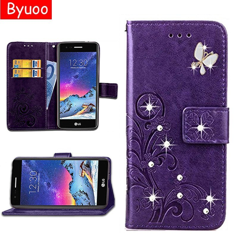 De cuero Flip 3D Bling caso ranura para tarjeta Coque cubierta para LG K8 K10 2018 V20 V30 Stylus 3 L70 X 3 Q60 espíritu K3 K5 W10 W30 K50