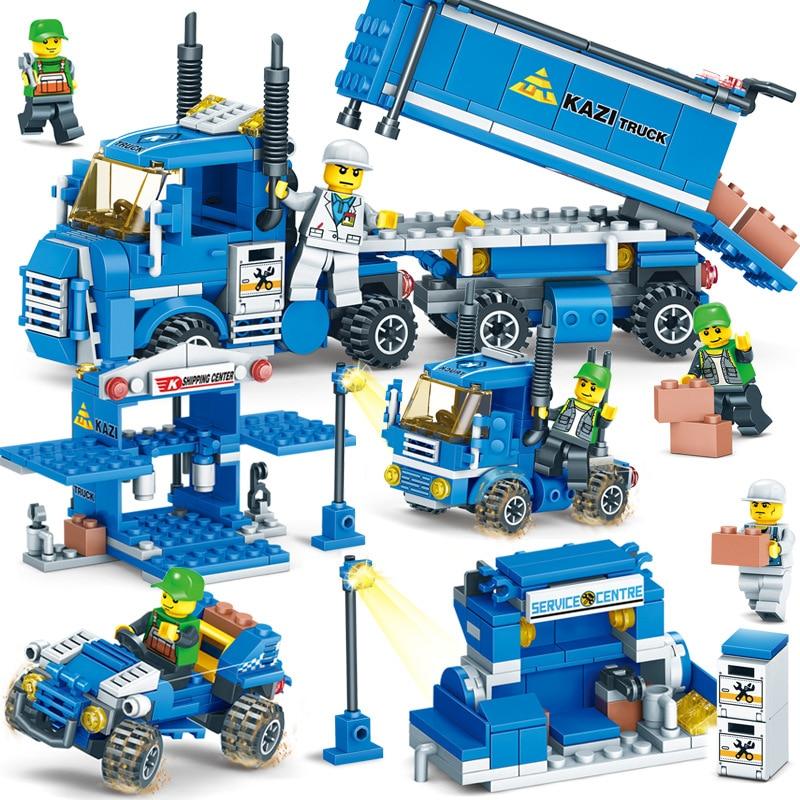 Nuevo 318 Uds. 4 en 1 carga urbana Compatible con City Truck bloques de juguete ladrillos educativos juguetes de construcción para niños