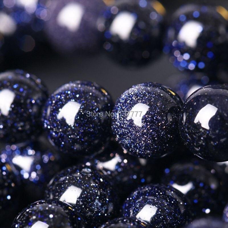 Natürliche 6 8 10 12 14 mm Dark Mitternacht Blau Goldstone 8mm Runde Perlen/15,5 Inch Strand