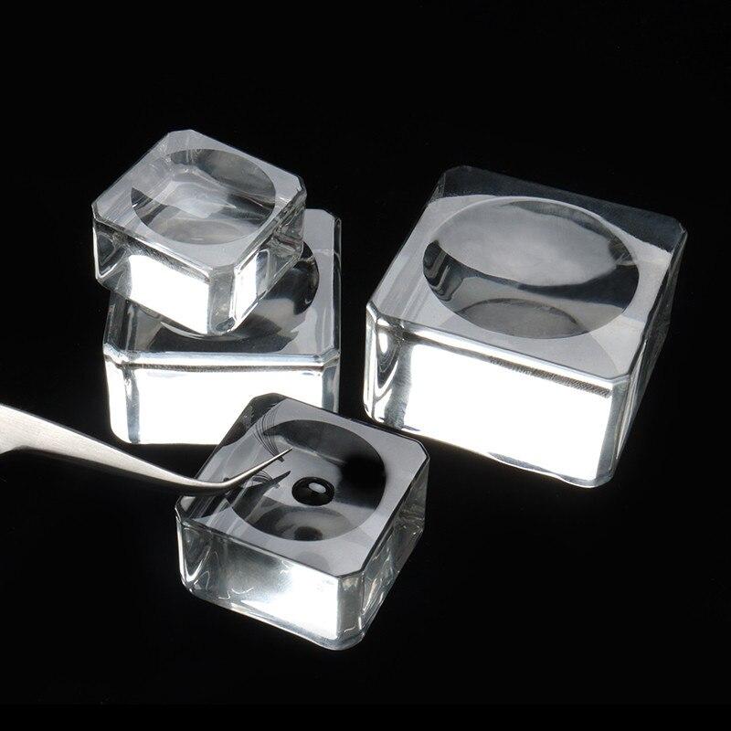 1 pçs de cristal de vidro cola palete lash titular titular cola de cílios falsos cílios suporte extensão quadrado vidro cola paletes