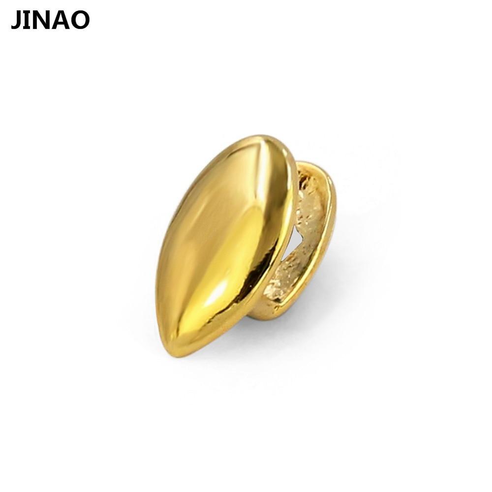 JINAO vampiro Fang casquillo simple tono dorado canino diente parrillas colmillos Drácula dientes Parrilla, regalo