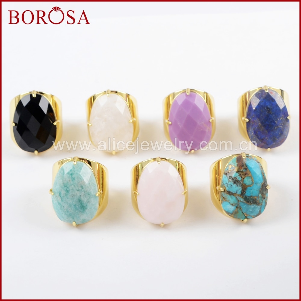 Borosa nova forma de ovo garra banhado a ouro multi-kind pedra lapis lazuli turquesa facetado anel de banda para presente de jóias femininas zg0321