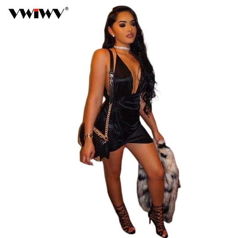Verano Mujer Vestido De fiesta satén Mini plisado Sexy Club Vestido 2018 Sexy cuello pico vendaje Casual Bodycon Maxi Vestido