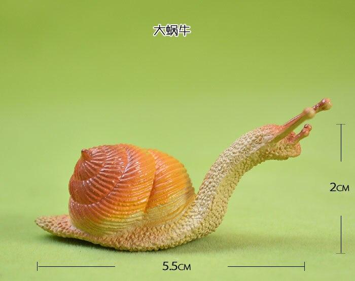 Pvc de boa qualidade artificial modelo animal brinquedo de plástico figura sólida caracol caracol grande 10 pçs/set