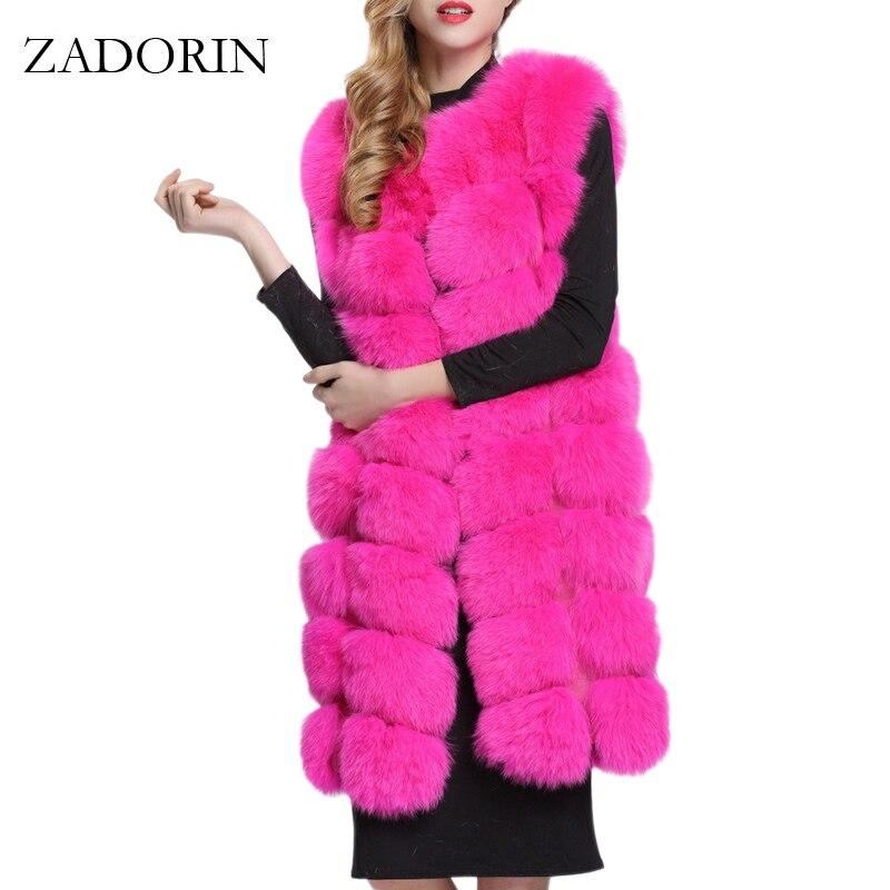ZADORIN 90cm de lujo mujeres chaquetas de piel sintética sin mangas Delgado largo Chaleco de piel sintética chaleco abrigo de Invierno Caliente peludo mujeres de talla grande