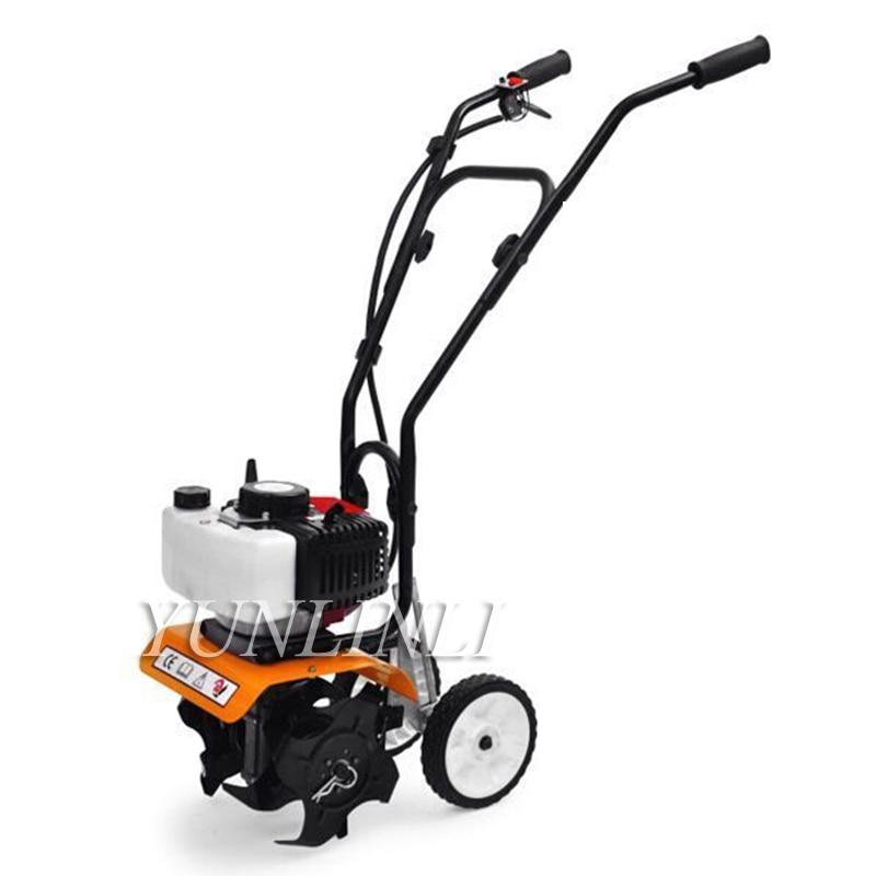 Casa mini tiller jardim cultivador enxada giratória tine 52cc plantas solo afrouxamento equipamento mini cultivador pro máquina 1e44f-5