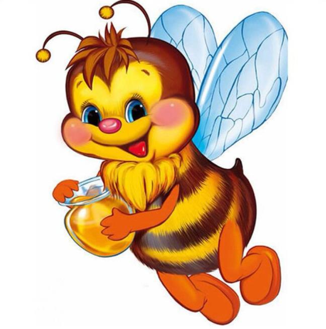 5D Diamond Painting Bee Full Square Diamond Embroidery Cartoon Bee Picture Rhinestones Mosaic Cross Stitch Childrens Room Decor