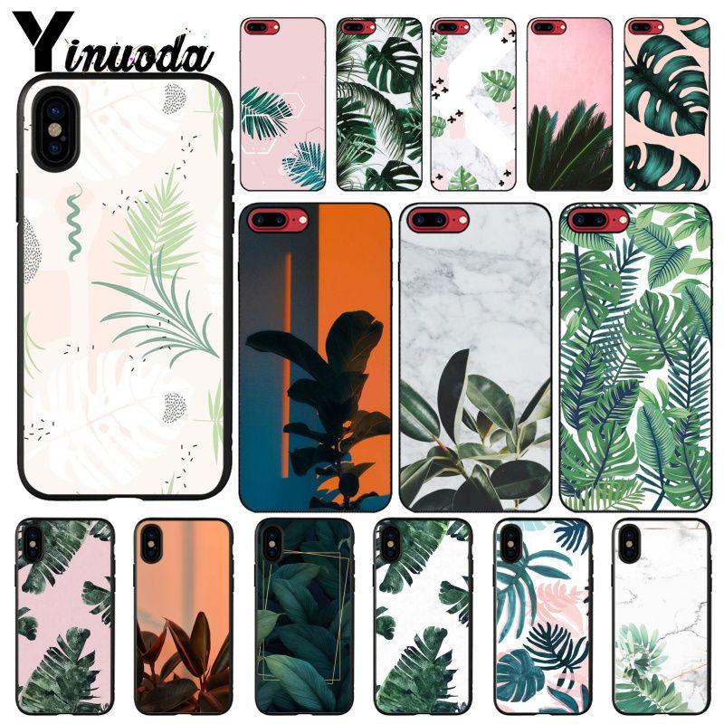 Yinuoda, carcasa de teléfono con hojas de palmera para iphone 11 Pro Max 8 7 6 6S Plus X XS MAX 5 5S SE XR