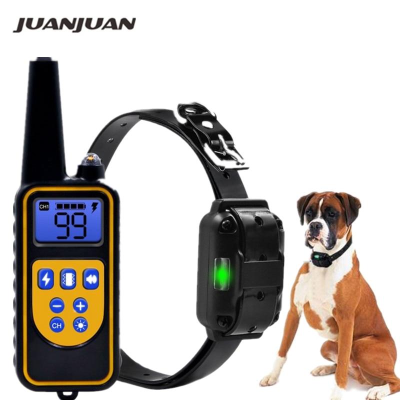 Coleira elétrica de treinamento de cães, à prova d'água, recarregável, controle remoto, bicho de estimação, com tela LCD para todos os tamanho, coleira para acabar com os latidos, 40% de desconto