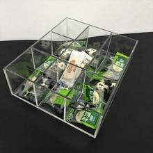 Bacs de comptoir à neuf compartiments   Organiseurs en acrylique clair pour bacs de comptoir, organisateurs de plateaux de perles, boîte de rangement de bonbons