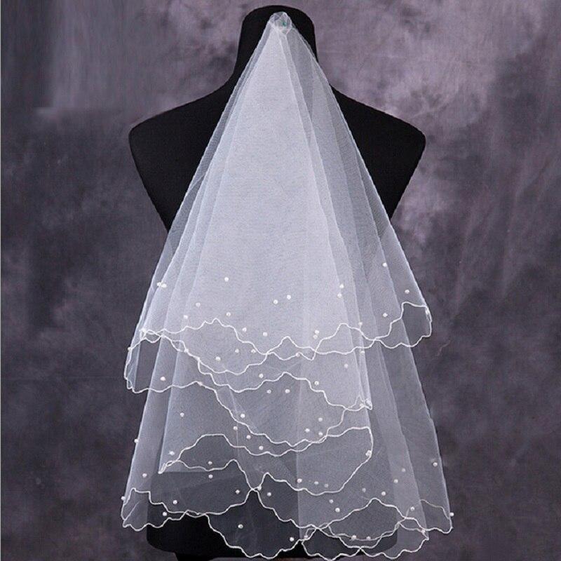 Simples e elegante casamento véu de noiva tule branco marfim frisado feminino 2020