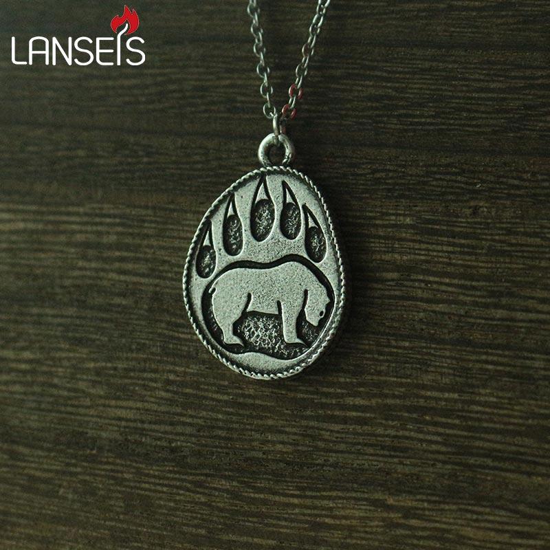 Lanseis 1 pçs viking urso pata pingente colar de homem nordic talismã jóias bonito urso charme
