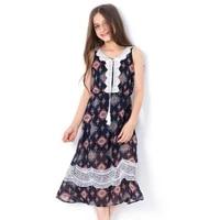 teen girls dress 2018 fashion floral summer a line dresses pastoral style lace sundress teenage kids vestidos clothing 6 8 10 12