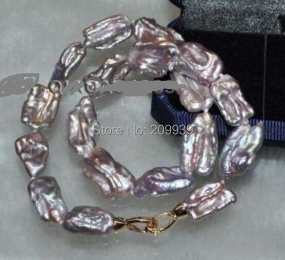 "Huij 002661 17 "" 12 - 16 mm raro del arco iris de púrpura de agua dulce collar de perlas"