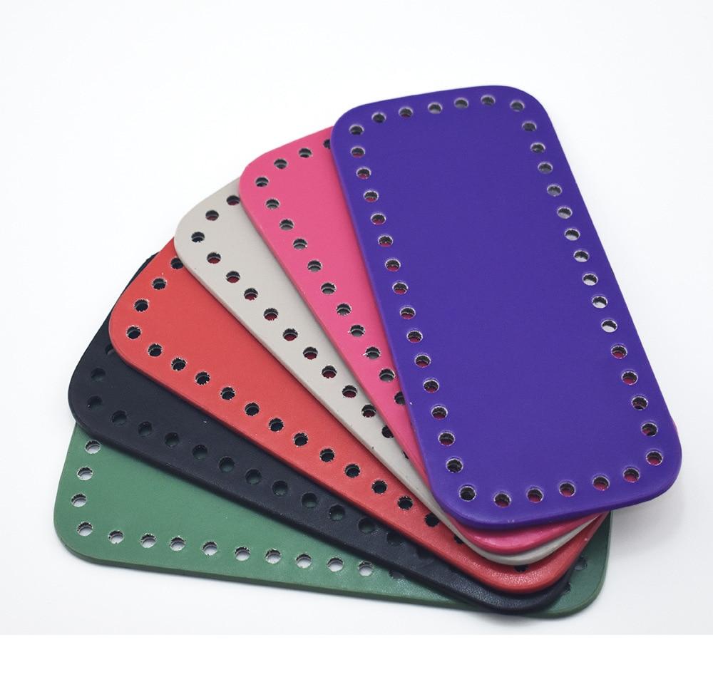 Parte inferior de 18x8cm para bolsa de tejido de piel sintética, accesorios para bolso de piel sintética, parte inferior rectangular con agujeros, parte inferior para bolsa de ganchillo DIY