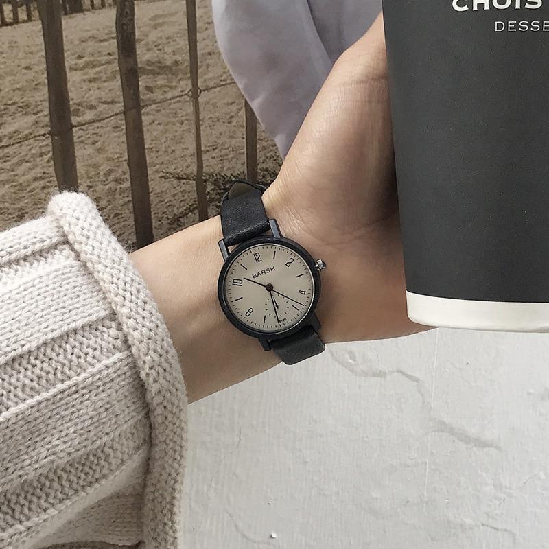 ccq brand unisex vintage cow leather simple bracelet watch women men casual leather quartz wristwatches clock gift drop shipping Women's watches fashion brand vintage leather quartz watch women simple woman clock casual ladies wristwatches Montre Feminino