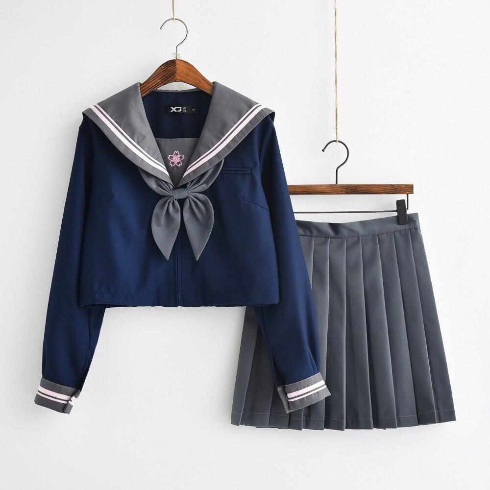 Японская JK Униформа темно-синяя рубашка, розовая Sakura вышитая Осенняя школьная Женская Новинка матросские Костюмы униформы XXL