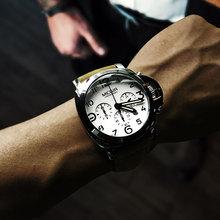 Relojes de cuarzo luminosos con cronógrafo Megir para hombre con fecha de calendario redondo analógico militar reloj de pulsera con Correa de cuero Hombre ML3406G