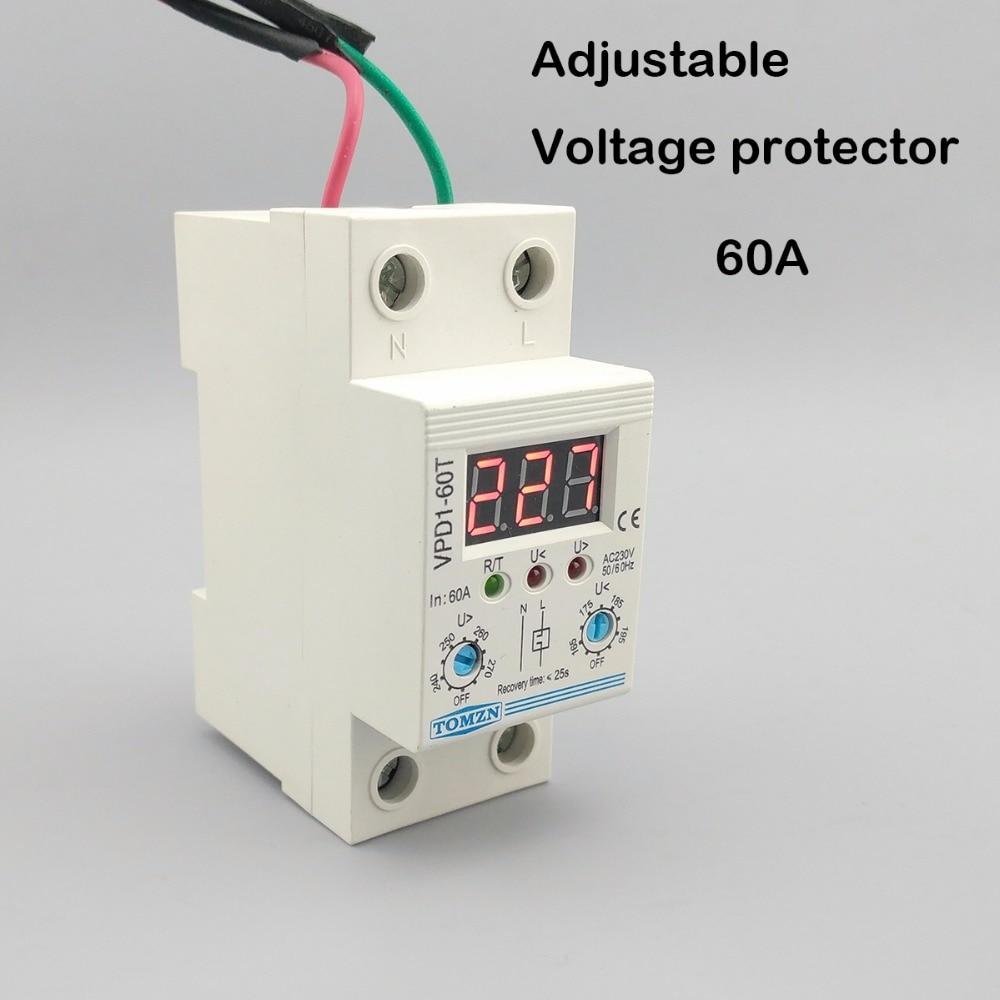 60a 220v reconecte automatico ajustavel sobre a tensao e sob o rele do dispositivo