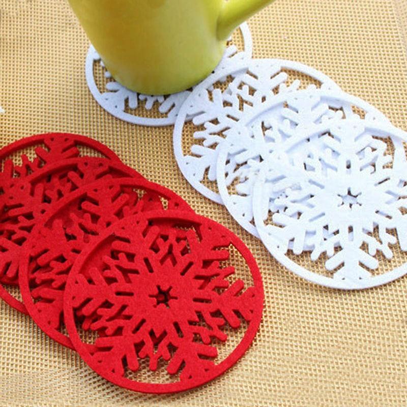 2 шт./лот DIY веселые рождественские снежинки коврик для чашки вечерние подставки