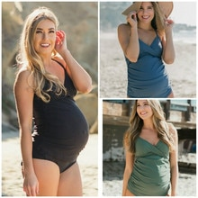 S-4XL Large Size Maternity Swimwear Pregnant Women Swimsuit One Piece Plus Size Pure Color Pregnancy Beach Bathing Bikini Women