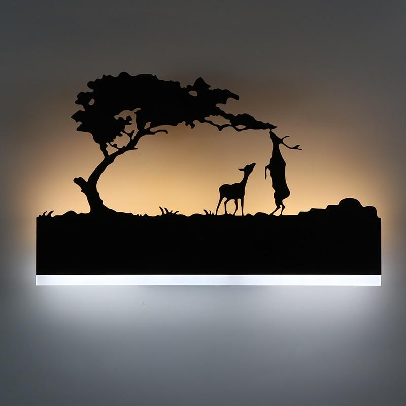 Moderna lámpara de pared LED creativo habitación al lado de la lámpara de hierro + material acrílico noche iluminación decoración para habitación de Hotel luz de pared