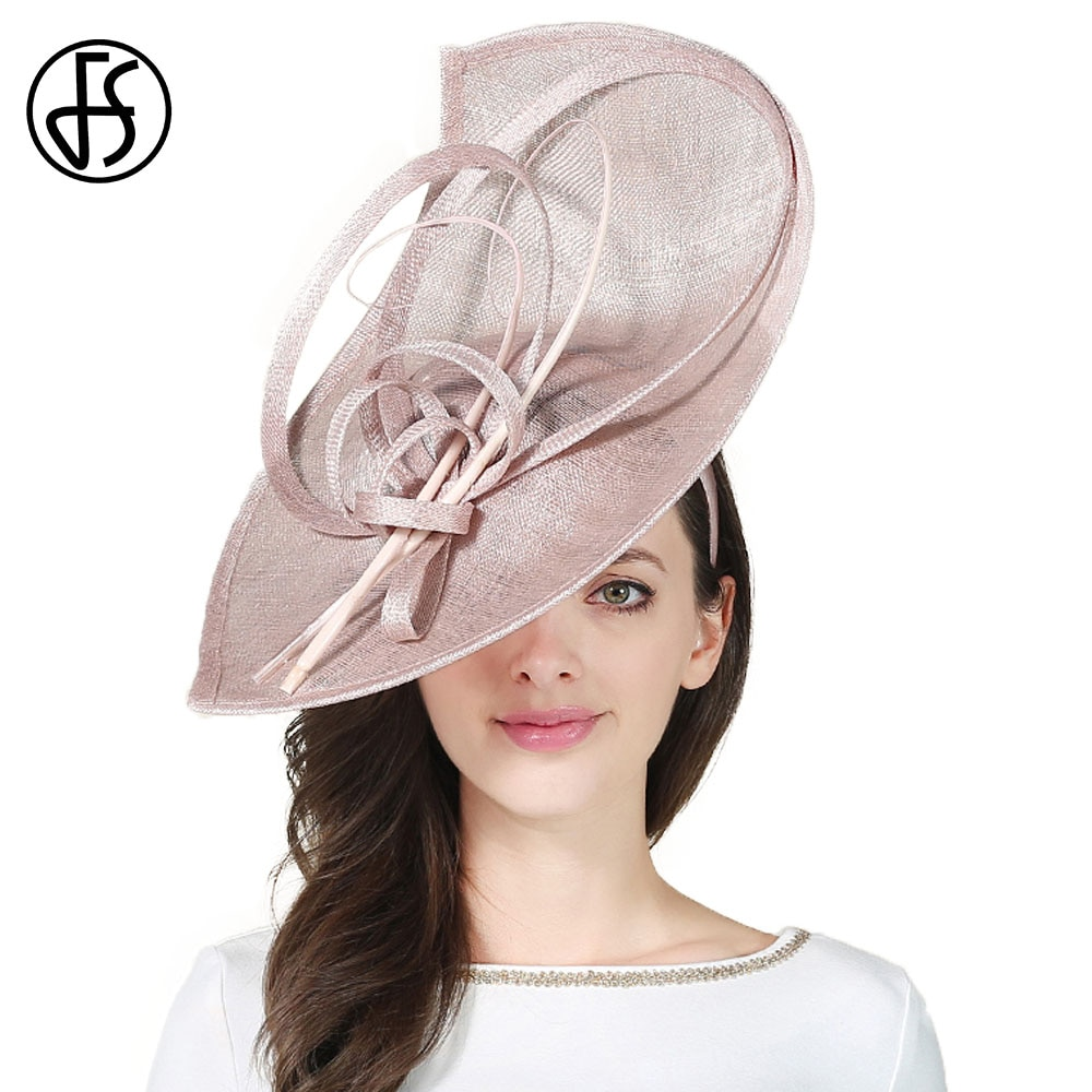 FS Sinamay Kentucky Derby Hats Large Wide Brim Handmade Flower Linen Hat Big Fascinator Vintage Elegant Party Cocktail Cap