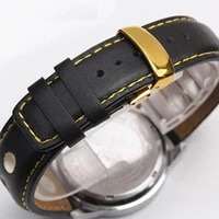 black 20 mm genuine leather watch band strap watche band strap belt watchband folding clasp buckle for breitling pam