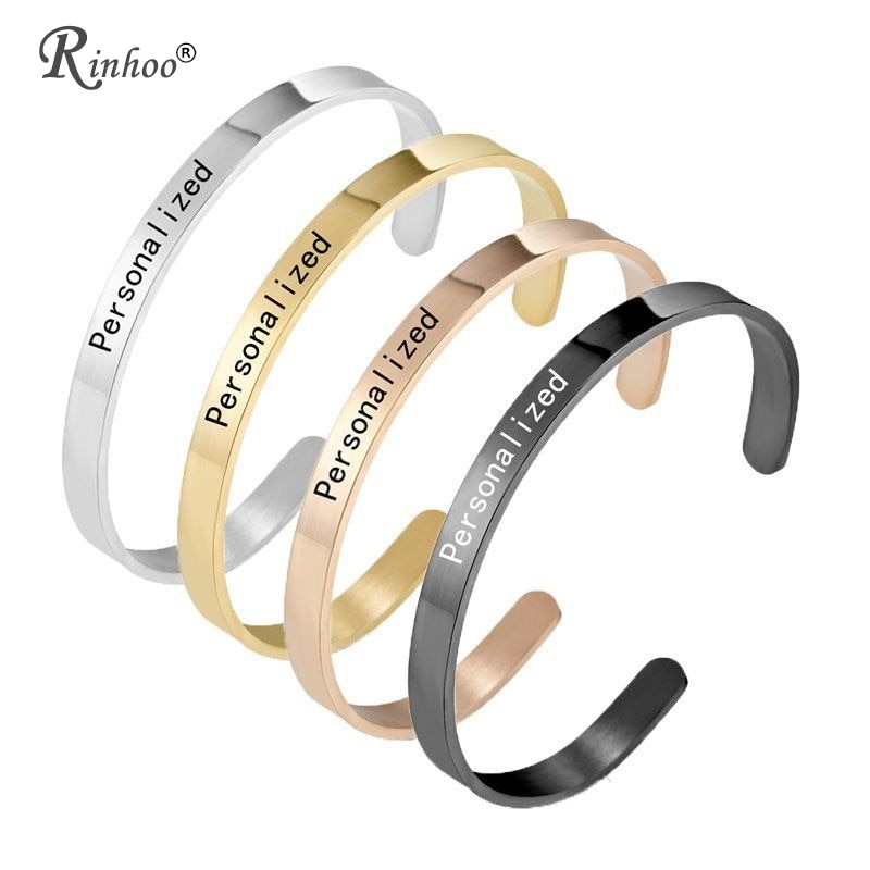 1PC Personalized Engraved Custom Name Stainless Steel Bracelet Jewelry Name Words Letters Custom Bra