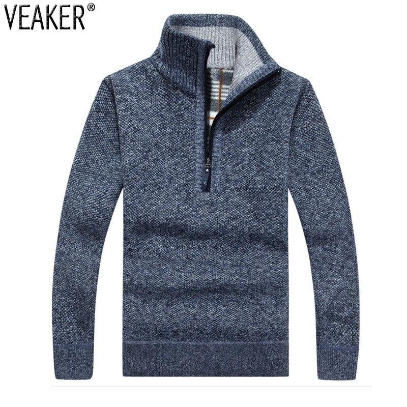 2019 otoño invierno nuevo suéter de cremallera para hombres soporte de jerseys Collar ajustado ajuste grueso suéteres de punto de Color sólido suéter 3XL
