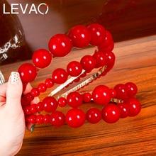 Levao New Hair Hoop Red Pearl Hairband Beaded Headband for Women Headwear Lady Party Hair Band Headbands Hair Accessories
