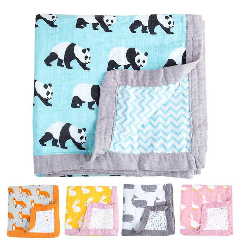 Manta gruesa de 4 capas Muslinlife de diseño personalizado para bebé, manta suave de otoño e invierno, manta de algodón orgánico para bebé