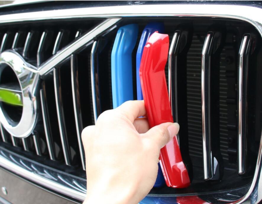 Cubiertas de rayas para parrilla delantera de coche, clips de la parrilla, pegatinas decorativas para Volvo XC60 2018, accesorios de Exterior para automóviles