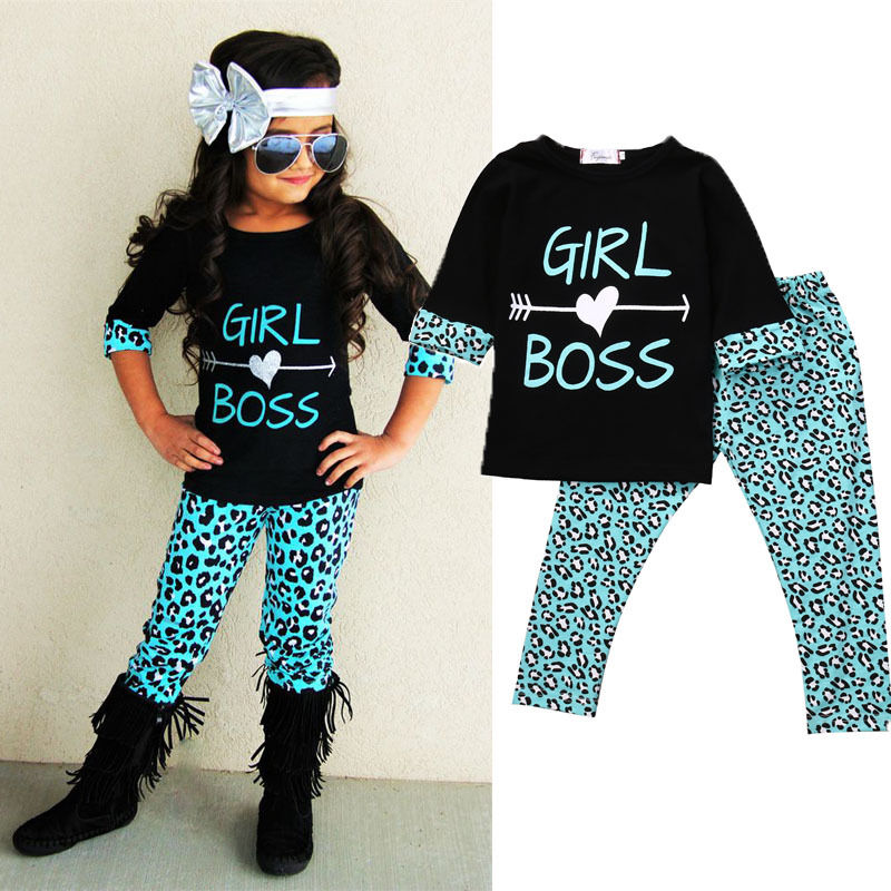 2PCS Toddler Kids Baby Girls T-shirt Tops Dress+ Leopard Long Pants Girl Boss Clothes Outfits Sets