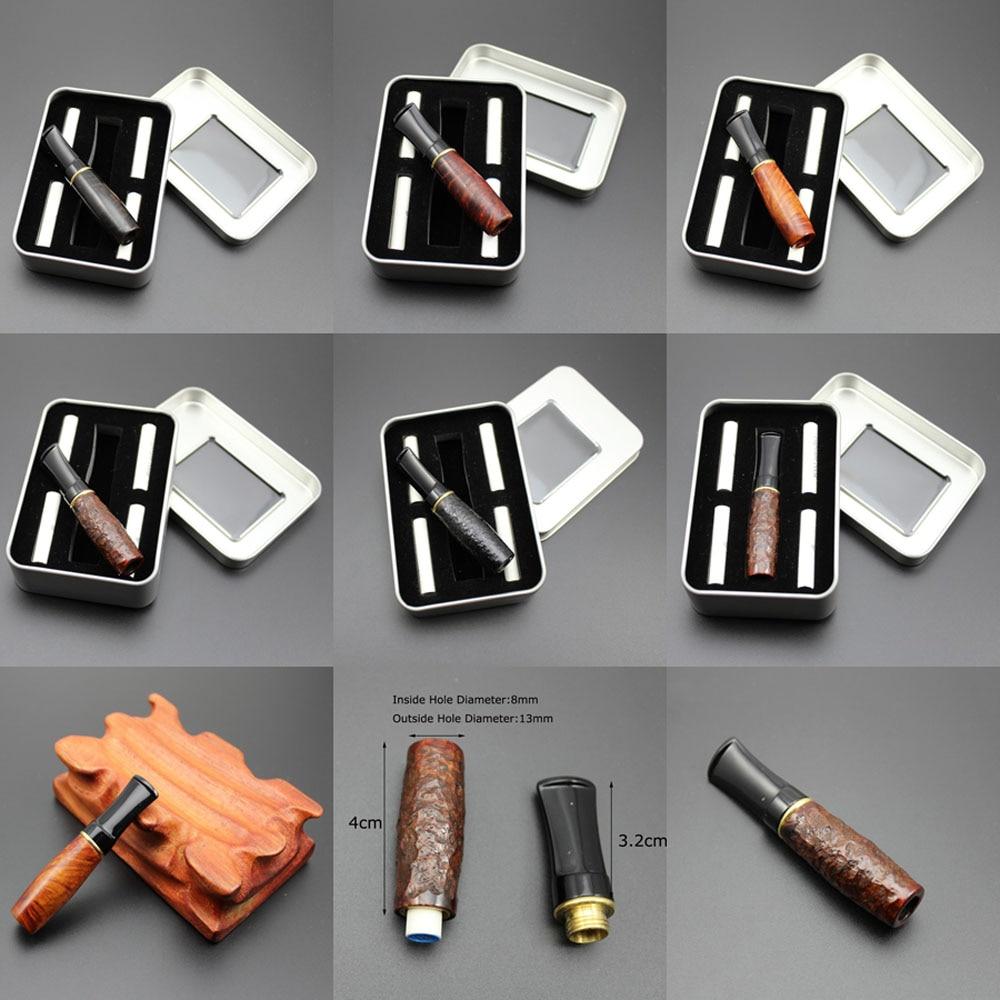 Boquilla de madera de brezo tallado de madera con filtración de tabaco de 8mm, soporte para cigarrillo, filtros, pipa para fumar