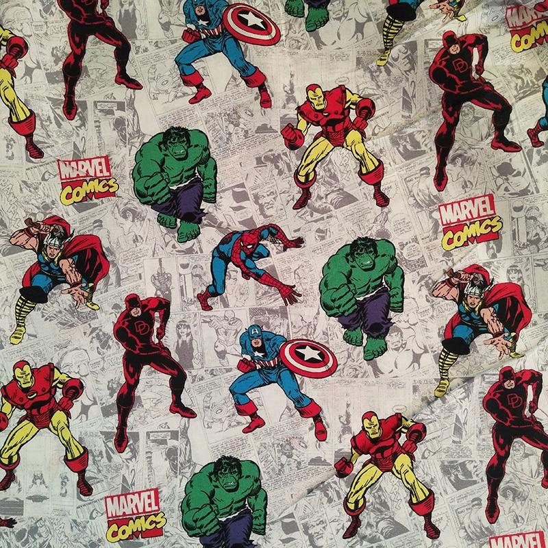 Joli tissu bande dessinée de 110cm   Vêtement de couture, 100% coton, large, tissu imprimé, Patchwork, pour enfants, style des Avengers.