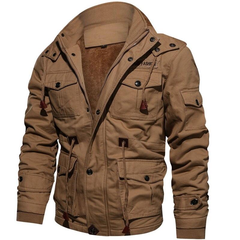 Chaquetas de lana de invierno para hombre, abrigo cálido con capucha, abrigo térmico grueso, chaqueta militar para hombre, chaqueta de piloto de la Fuerza Aérea, abrigo del ejército de carga
