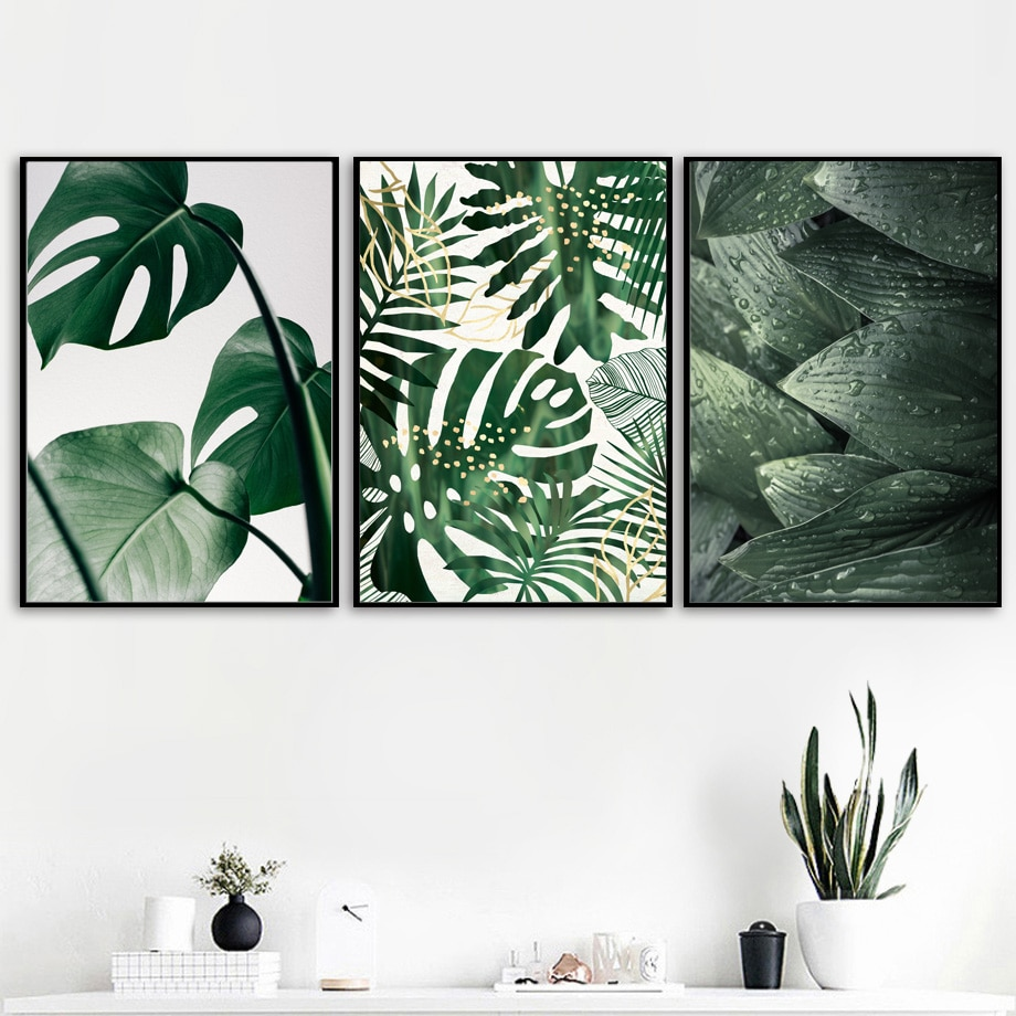Quadro de parede com impressão de arte, tela com folhas verdes e frescas, imagem nórdica de plantas tropicais para sala de estar
