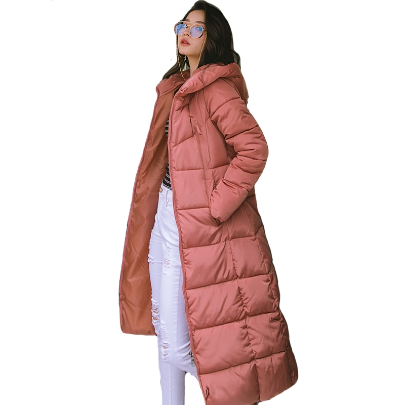 2019 Winter Women Jacket X-long Hooded Cotton Padded Female Coat High Quality Warm Outwear Womens Parka Manteau Femme Hiver
