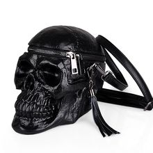 3D Skull Shoulder Bag Crossbones Messenger Bag Unisex Men Women Fashion Street Leather Zipper Handbags Punk Design Bag