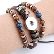 Heißer Snap Armbänder & Armreifen Neueste Design Vintage Stil Perlen Leder Armband FIt 18/20MM Snaps Taste Schmuck ZE407