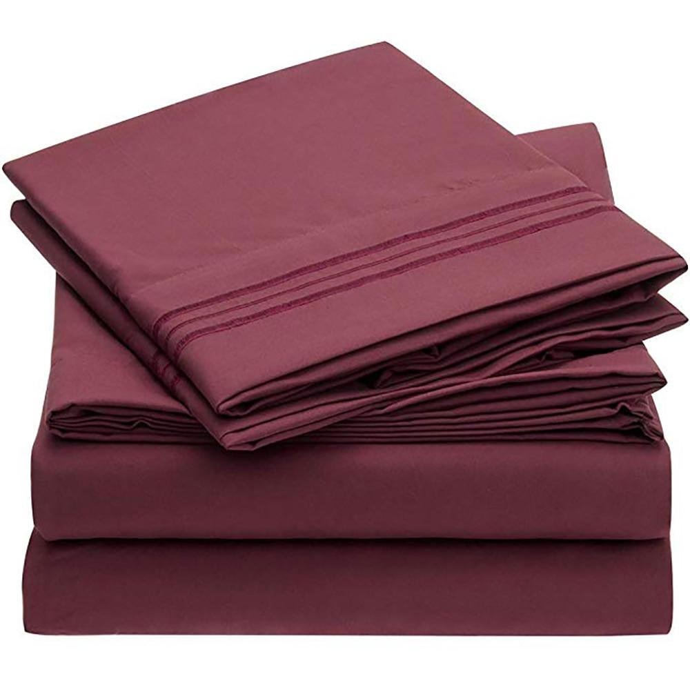 Sábana Sanbest con funda de almohada 4 Uds. Fundas de colchón sábana ajustada con elástico para juegos de sábanas de tamaño King JF00001