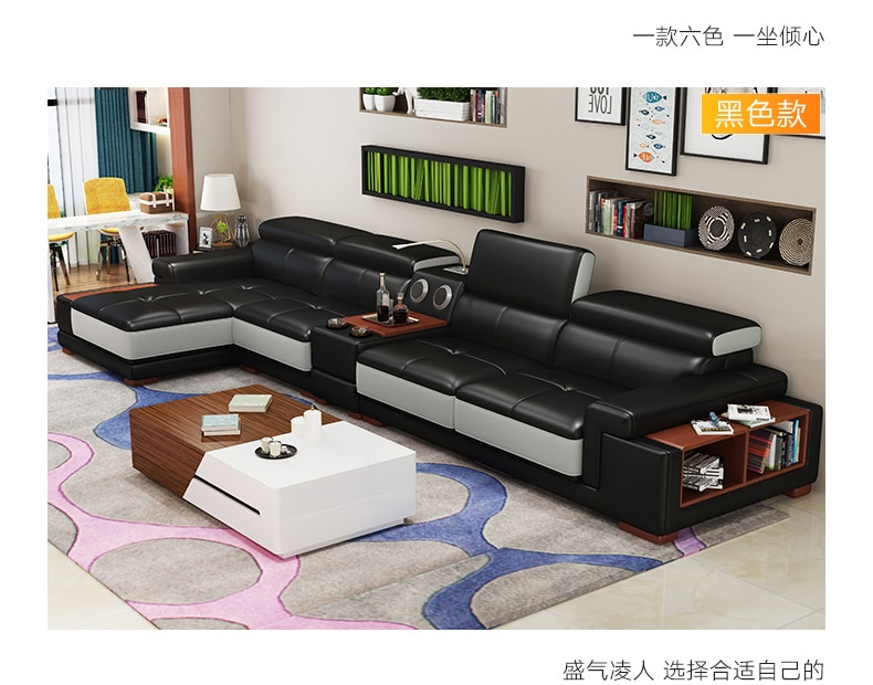 Living Room Sofa  corner sofa real genuine leather sofas with storage speaker LED light muebles de sala moveis para casa