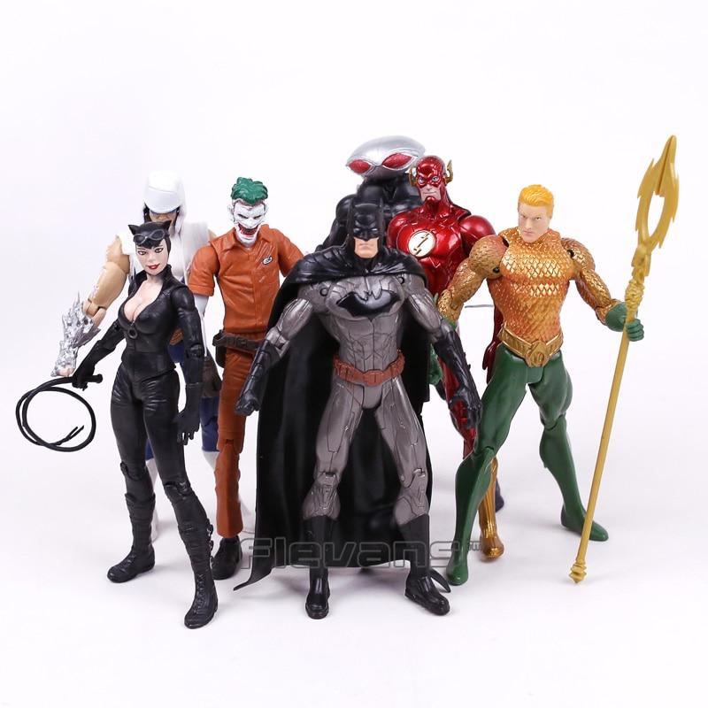 Экшн-фигурки DC COMICS, 7 шт./компл., Бэтмен, Джокер, флеш, Catwoman, Aquaman, Captain, Cold Black Manta, ПВХ-игрушки, 16 см
