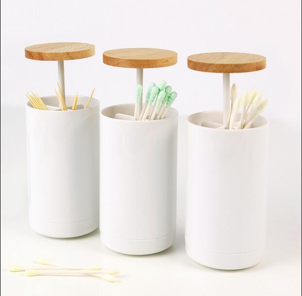 De plástico Soporte automático para palillos de dientes con roble cubierta palillo de dientes caja cubo dispensador mesa de bar casera accesorios Popular nuevo ZH045