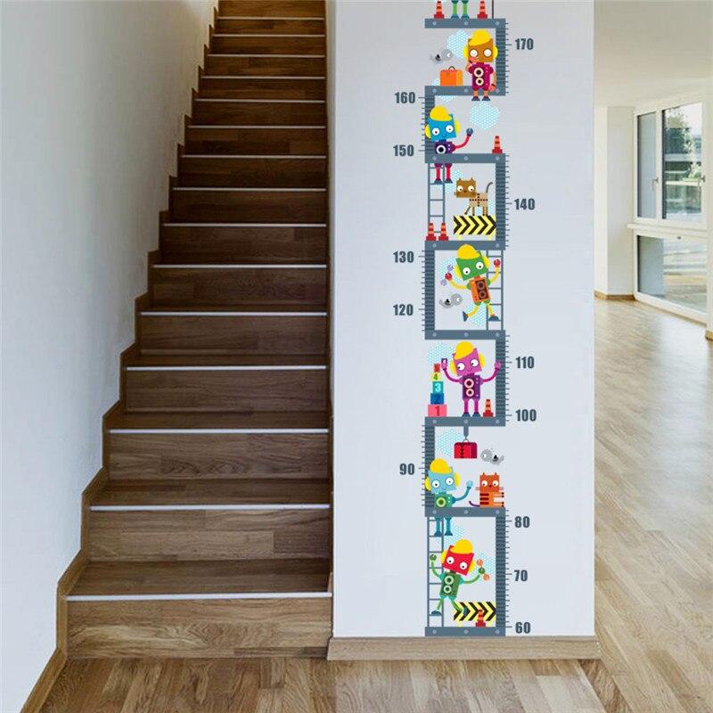 Robot arriba Pared de medición de altura de la etiqueta engomada para niños decoración de la habitación de crecimiento gráfico pared etiqueta arte niño habitación Decoración