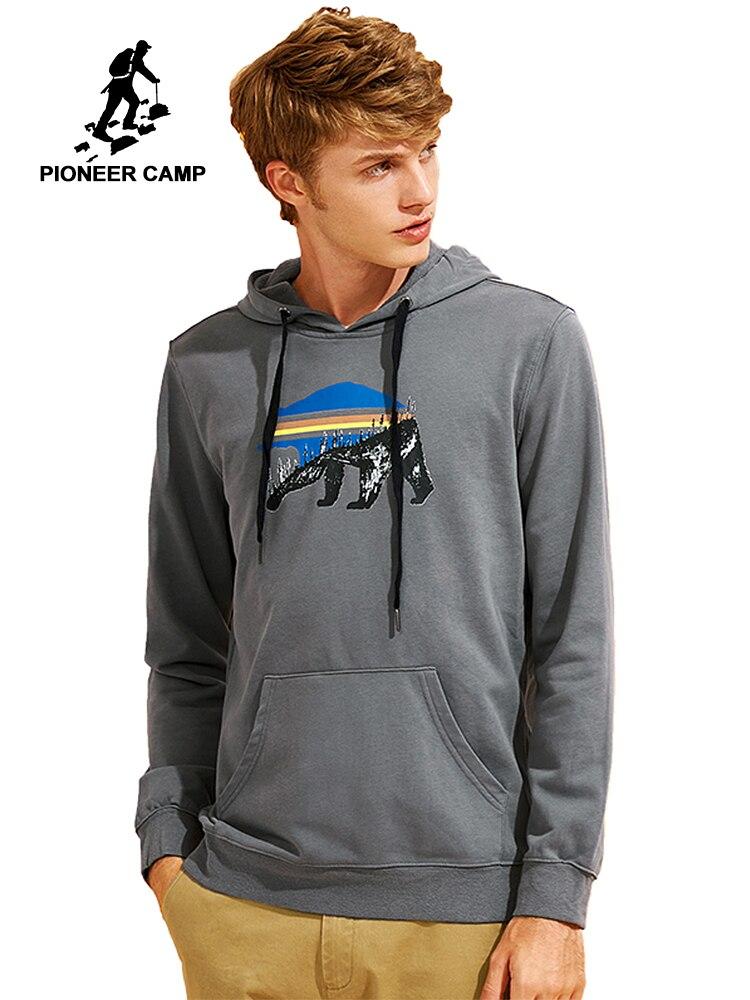 Sudaderas con capucha Pioneer Camp nuevo estampado para hombre, ropa de marca, Sudadera con capucha simple para hombre, chándal de calidad gris verde militar AWY701313