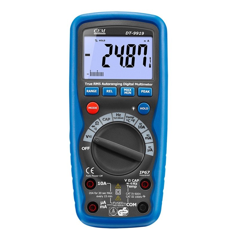 DT-9919 amperímetro profissional à prova d água proteção integral multímetro digital