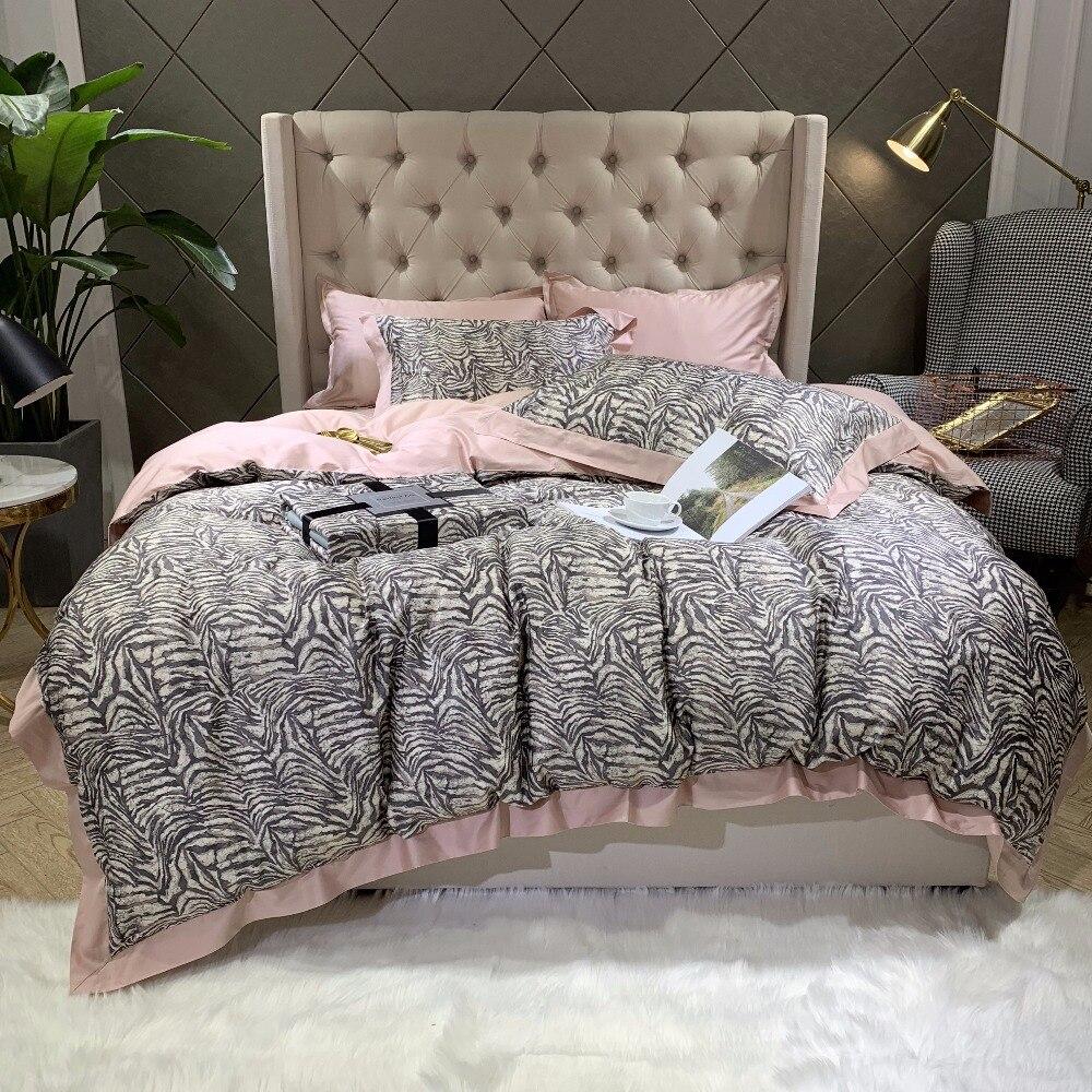 New 60S egyptian Cotton Bedlinen Luxury bedclothes Bedcover Zebra pattern Duvet Cover Bedding Set queen king size bed set